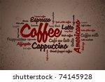 wordcloud of coffee   Shutterstock .eps vector #74145928