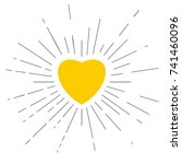 yellow heart placed in center... | Shutterstock . vector #741460096