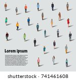 large group of people on white... | Shutterstock .eps vector #741461608