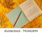 old school exercise book with a ... | Shutterstock . vector #741462694