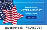 veterans day advertising banner ... | Shutterstock .eps vector #741463084