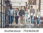 multiracial young creative... | Shutterstock . vector #741463618