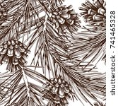 vintage pine tree illustration. ... | Shutterstock .eps vector #741465328