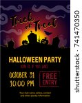 halloween party banner | Shutterstock .eps vector #741470350