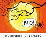 halloween card with spooky... | Shutterstock .eps vector #741476860