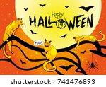 happy halloween card with bats  ... | Shutterstock .eps vector #741476893