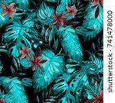 watercolor seamless pattern... | Shutterstock . vector #741478000