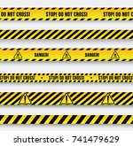 danger and police line. yellow... | Shutterstock .eps vector #741479629