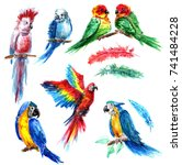 bright parrots in the style of ... | Shutterstock . vector #741484228