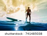 stand up paddle board man... | Shutterstock . vector #741485038