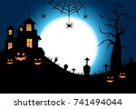 halloween theme pumpkin on the... | Shutterstock .eps vector #741494044