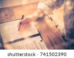 close up of businessperson with ... | Shutterstock . vector #741502390