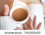 relaxing moments  cup of coffee ... | Shutterstock . vector #741502420