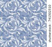floral seamless pattern. blue... | Shutterstock .eps vector #741502510