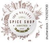 spice shop design. round paper... | Shutterstock .eps vector #741502930