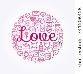 the word love surrounded by... | Shutterstock .eps vector #741506458