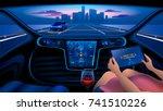 autonomous smart car interior.... | Shutterstock . vector #741510226