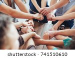 group of diverse hands together ... | Shutterstock . vector #741510610