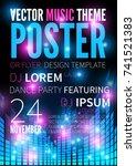 dj night  disco dance party...   Shutterstock .eps vector #741521383