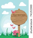 wooden board over cute nature... | Shutterstock .eps vector #74152300