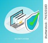 isometric computer laptop... | Shutterstock .eps vector #741523183