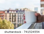 morning cup of hot coffee in a... | Shutterstock . vector #741524554