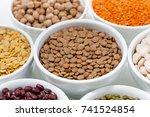 assortment of legumes in bowls  ... | Shutterstock . vector #741524854