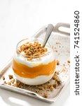 dessert with pumpkin  sweet... | Shutterstock . vector #741524860