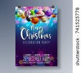 vector merry christmas party...   Shutterstock .eps vector #741525778