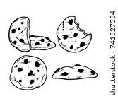 chocolate chips cookie or... | Shutterstock .eps vector #741527554