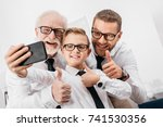 father  son and grandfather... | Shutterstock . vector #741530356