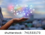 mobile application concept.man... | Shutterstock . vector #741533173