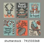 collection of six christmas... | Shutterstock .eps vector #741533368