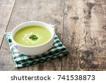 zucchini soup in bowl on wooden ... | Shutterstock . vector #741538873