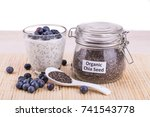 chia seeds pudding with... | Shutterstock . vector #741543778
