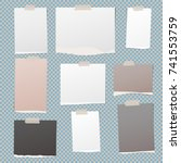 white  brown notebook  notepad... | Shutterstock .eps vector #741553759