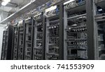 row of bitcoin miners set up on ... | Shutterstock . vector #741553909