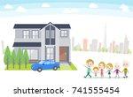 family 3 generations house... | Shutterstock .eps vector #741555454