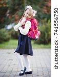 little schoolgirl with a... | Shutterstock . vector #741556750