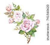 watercolor roses | Shutterstock . vector #741560620