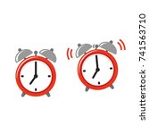 alarm clock icon set  standing... | Shutterstock .eps vector #741563710