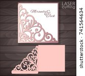 die laser cut wedding card... | Shutterstock .eps vector #741564634