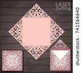 die laser cut wedding card... | Shutterstock .eps vector #741564640