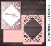 die laser cut wedding card... | Shutterstock .eps vector #741564643
