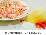 minced meat from raw meat with...   Shutterstock . vector #741566110
