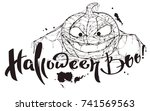 halloween boo text. pumpkin... | Shutterstock . vector #741569563