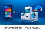 smart kitchen. the smart phone... | Shutterstock . vector #741570283