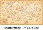 Stock vector great detail illustration of the world map in vintage style with mountains trees cities and main 741575320