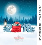 holiday christmas background... | Shutterstock .eps vector #741575764