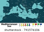 vector map of mediterranean sea ...   Shutterstock .eps vector #741576106